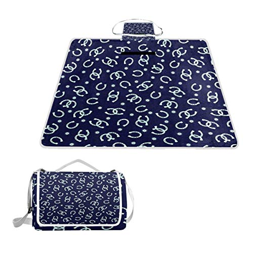 Picnic Outdoor Blanket Cowboy Horseshoes Blue Waterproof Large Machine Washable Great Use for Camping Blanket or Beach Blanket Sand Proof, 57