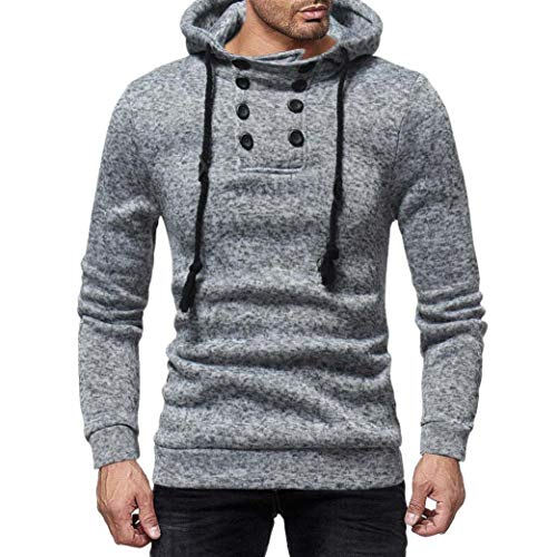 Sweatshirt for Mens,Realdo Men's Casual Solid Crewneck Elastic Drawstring Button Down Hoodie Fashion Top Tee(XX-Large,Gray)