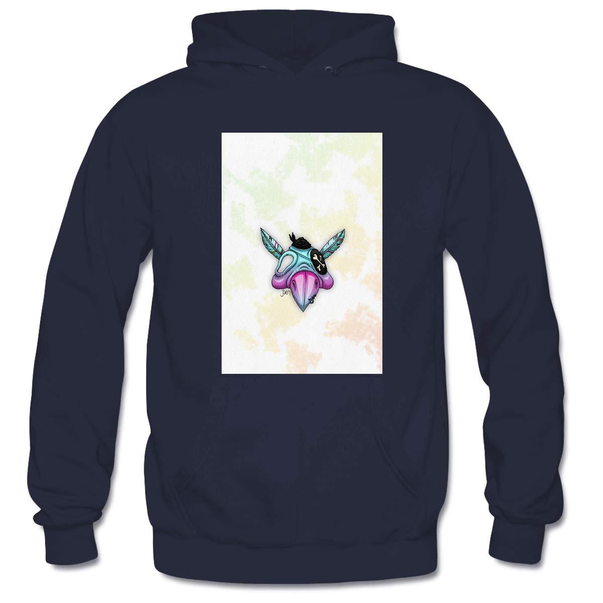 Mens Psittaskull Hooded Sweatshirt Funny Printed Pullover Hoodies Classic Long Sleeve T Shirt Tops