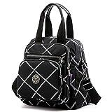 Multi-Pocket Crossbody Bags for Women Waterproof Nylon Shoulder Bag Travel Backpack Purse (Q-Black01)