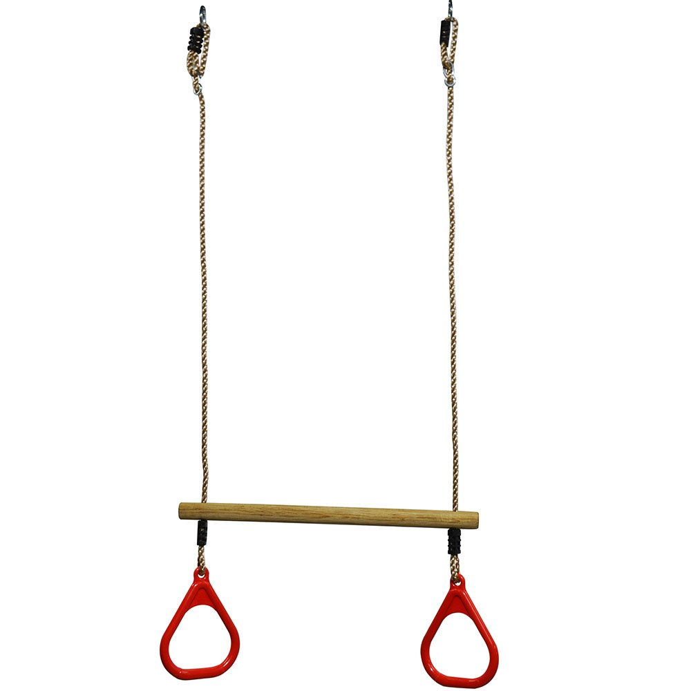 Eggdel Trapeze bois avec anneaux réglable plastique multi-usage pour enfant d'exercice Gymnastique intérieur et extérieur (Rouge)