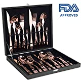 Silverware Set, Amz Soaring 18/10 Stainless Steel Flatware Cutlery, 20 Piece Set, Service for 4, Gift Box Package include Spoon Fork Knife, Rose Gold