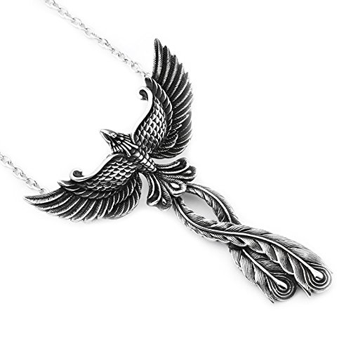 (Stainless Steel Jewelry Charm Phoenix Pendant Link Chain Bird of Wonder Animal Necklace Fashion)