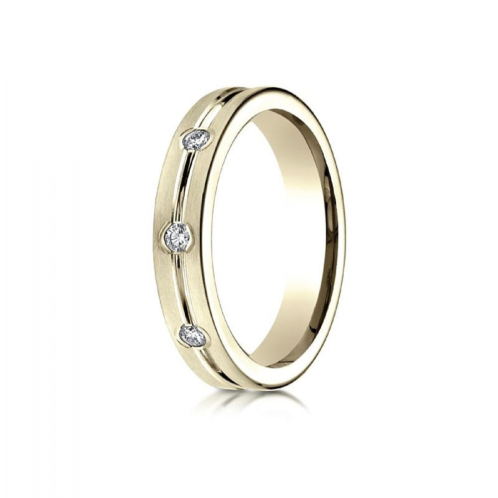 14k Yellow Gold 6mm Comfort-Fit Etched Burnish Set 8-Stone Diamond Eternity Ring (0.32ct) - Size 15