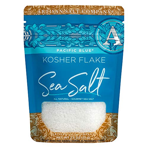 SaltWorks Pacific Blue Kosher Flake Salt Artisan Zip-Top Pouch, 2.5 Ounce ()