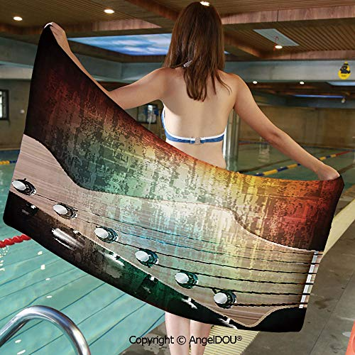 AngelDOU Large Gym Sport Swimming Pool Towel Abstract Grunge Retro Background with Headstock and Tuning Pegs Blues Jazz Musician Microfiber Beach Towel Women Men.W31.4xL63(inch)
