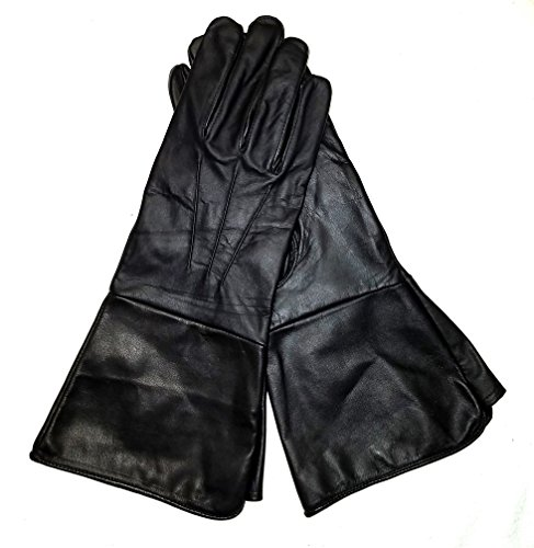 Medieval Renaissance Gauntlet leather cosplay gloves long arm cuff (Black, Large)