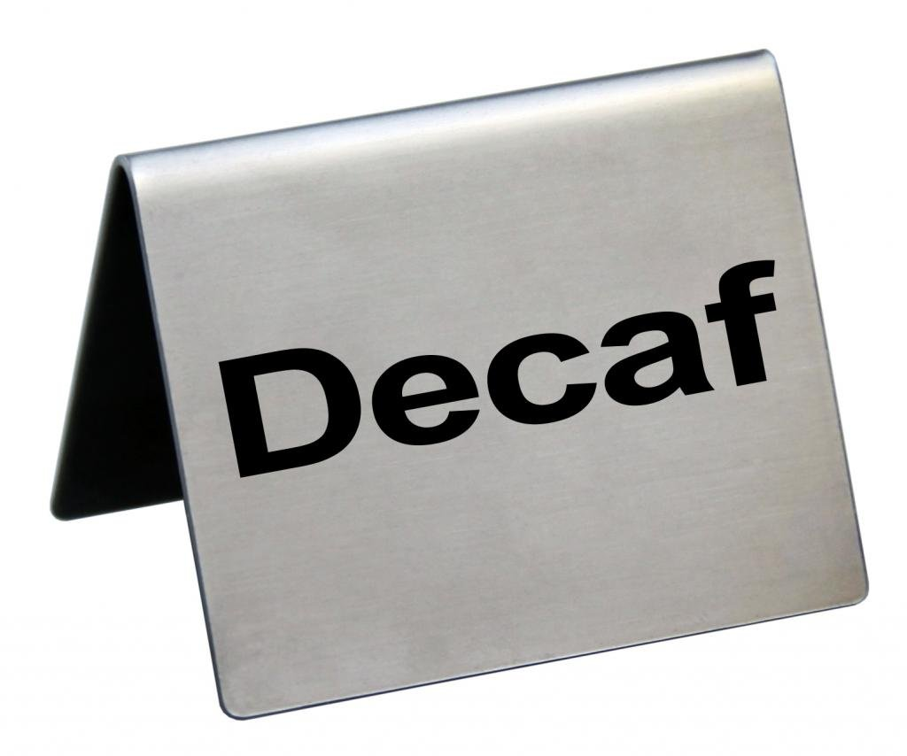 New Star Foodservice 27082 Stainless Steel Table Tent Sign, ''Decaf'', 2-Inch by 2-Inch, Set of 6