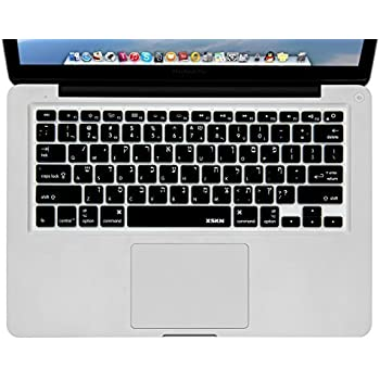 bcbb8345512 XSKN Hebrew Black Color Silicone Keyboard Skin Cover for MacBook Air 13, Pro  13 15 17 inch, US Layout