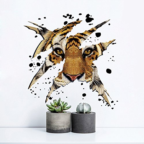 YIHOPAINTI DIY Removable Domineering Tiger Head Wall Decal Stickers for Kids Room Living Room Office Bathroom Kitchen Bedroom Home -
