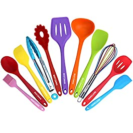 Kitchen Utensil Set – 11 Cooking Utensils – Colorful Silicone Kitchen Utensils – Nonstick Cookware with Spatula Set…