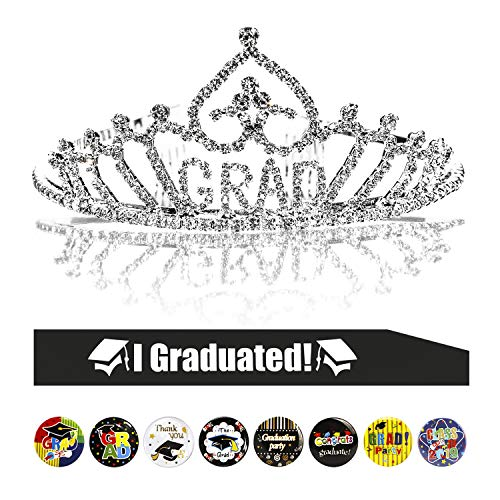 Konsait Graduation Party Supplies, Graduation Princess Grad Tiara & Graduated Sash & Graduation Button Pin(8pcs) for Grad Party Gift Idea Graduation Party Decorations Decor Favors -