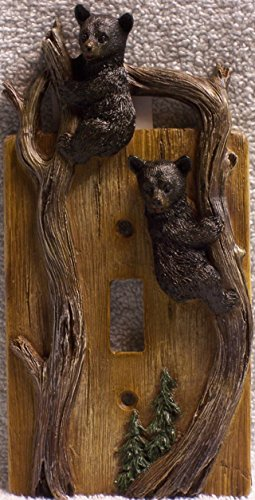 Bears on Tree Limb Electrical Resin Switch Plate