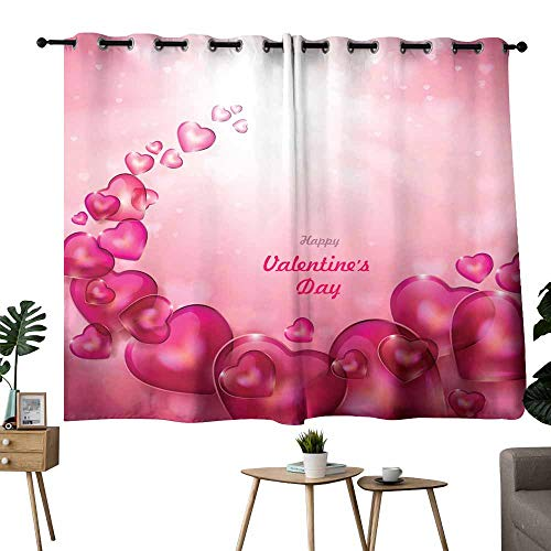Mannwarehouse Fashion Curtain Valentine s Day Abstract Background with Shiny Hearts for Living, Dining, Bedroom (Pair) 55