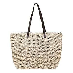 ILISHOP Women's Classic Woven Straw Tote Summer Beach Weaving Handbag Shoulder Bag
