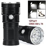 OVERMAL 30000LM 12 x CREE XM-L T6 LED Flashlight Torch 4x 18650 Hunting Light Lamp Lot