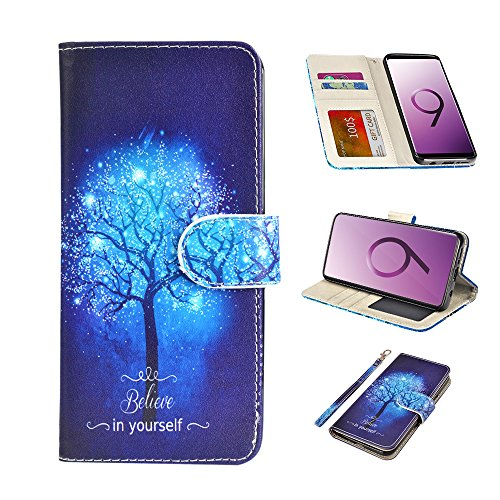UrSpeedtekLive Galaxy S9 Wallet Case Folio Flip Premium PU Leather Case Cover w/Card Holder Slot Pockets, Wrist Strap, Magnetic Closure Compatible with Samsung Galaxy S9 (2018),Believe in Yourself