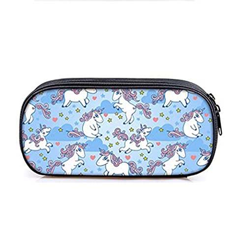Valerty Oxford Cloth Cute Cartoon Animal Unicorn Pencil Case Holder Cosmetic School Bag (H04) (Steel Vapor Mod)