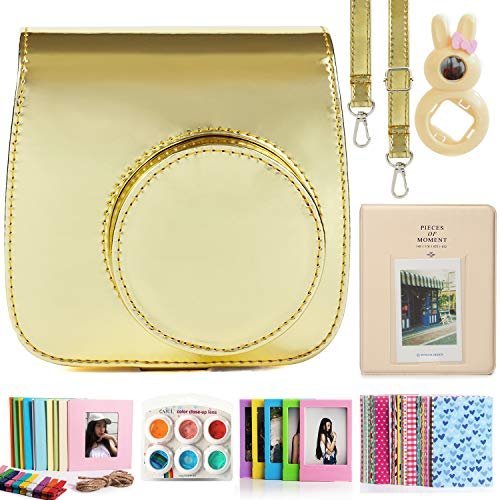 CAIUL Compatible Mini 9 Camera Case Bundle with Album, Filters Other Accessories for Fujifilm Instax Mini 9 8 8+ (Mirror Gold)