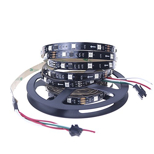 Alarmpore (TM 16.4FT WS2811 Led Strip, Programmable and Addressable, 5050 Digital RGB LED Strip 5M 150LEDs Not Waterproof Dream Magic Color 12V Led Rope Tape 30LEDs/m Black PCB ...