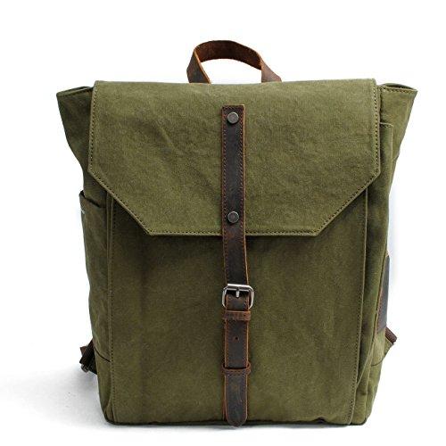 Mochila de lona gruesa de cifrado de hombres y mujeres hombros Mochila Bolso Messenger Retro Bolsa grande mochila para caminatas al aire libre Camping ,blanco Green