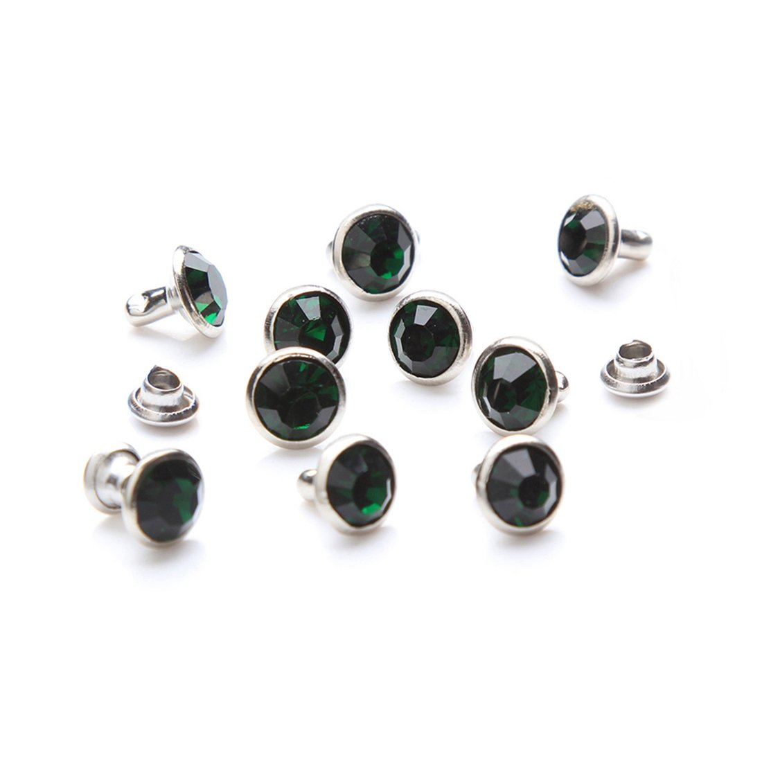 100 Sets Cz Crystal Rapid Rivets Silver Color Spots Studs Double Cap for DIY Leather-Craft 8mm, Emerald