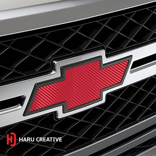 (Haru Creative HEX Red Carbon Fiber Chevy Emblem Overlay Sticker Kit - 2 Large Rolls (7.5