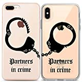 Lex Altern Matching Apple iPhone Cases Xs Max X Xr 10 8 Plus 7 6s 6 SE 5s 5 TPU Partners in Crime Clear BFF Gift Cute Relationship Best Friend Phone Silicone Cover Anniversary Print Handcuffs Black