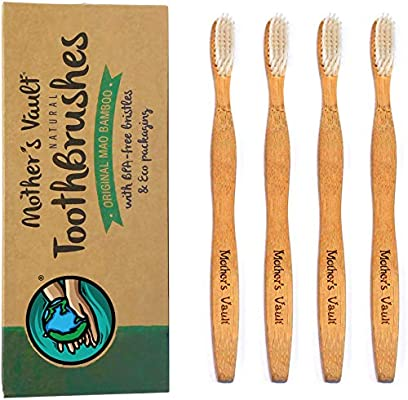 Mothers Vault Bamboo Toothbrush (Pack of 4) | Natural Toothbrush ...