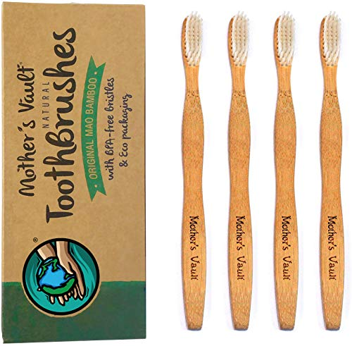 Mother's Vault Bamboo Toothbrush (4-Pack) | Natural Toothbrush - Adult & Child Sizes | Biodegradable, Eco Friendly, Organic & Recyclable | Medium/Soft BPA-Free Nylon Bristles | Eco Packaging