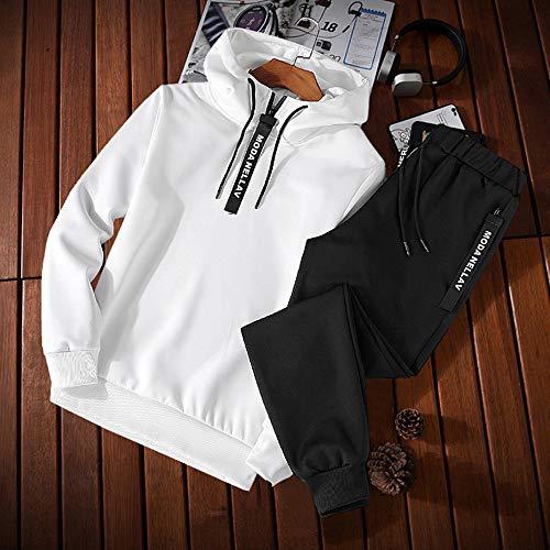 Uomo Cappuccio Da Felpa Pezzi Casuale Suit Tempo Il Feixiang Tuta M~5xl 2 Per Con Giacca Pantaloni Ginnastica Tracksuit Sports Cappotto Sportiva Felpe Bianco Tute Libero qOx0t05w