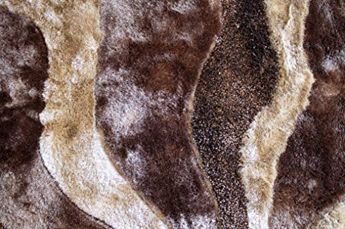 New SHAG Shaggy Brown Beige 8'x10' Feet Shaggy Furry Fuzzy 3D Plush Modern Contemporary Decorative Designer L3 Bedroom Living Room Canvas Backing Polyester Made Sale Indoor ()