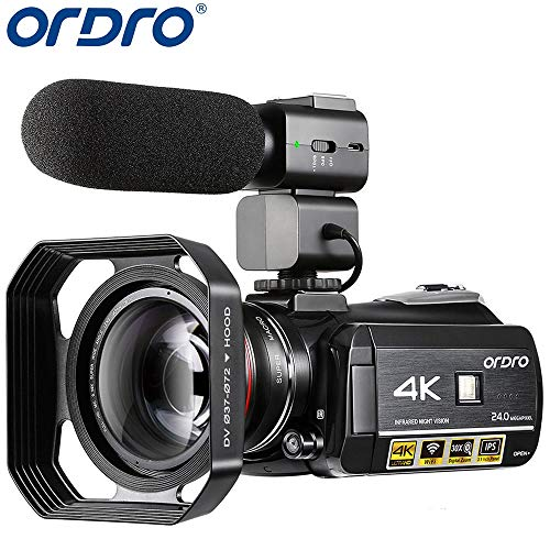 Video Camera 4K Camcorder ORDRO 4K UHD 1080P 60FPS Camera Recorder IR Night Vision and Wi-Fi Camcorder HD Digital Cameras with Microphone and Wide Angle Lens (Best Cheap Camcorder For Filmmaking)