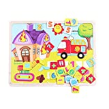 Kids Baby Wooden Wood Animal Puzzle Numbers Learning Educational Toy
