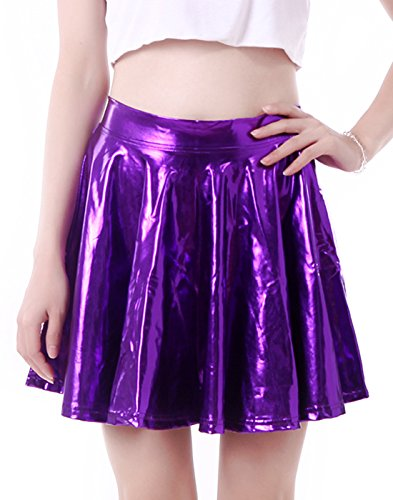 HDE Women's Solid Color Metallic Flared Pleated Club Skater Skirt (Purple, Medium) (Disco Themed Clothes)