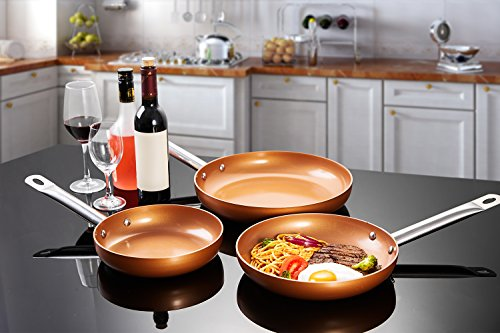 DEIK Frying Pan Set, Non Stick Fry Pan set, Induction frying pan set with 8 inch Omelette pan, Saute Pan 9.5 inch, Chef Pan 11 inch, coated with Double layer pan Set 3 Pack with 3 Spatula and Spoon by Deik (Image #5)