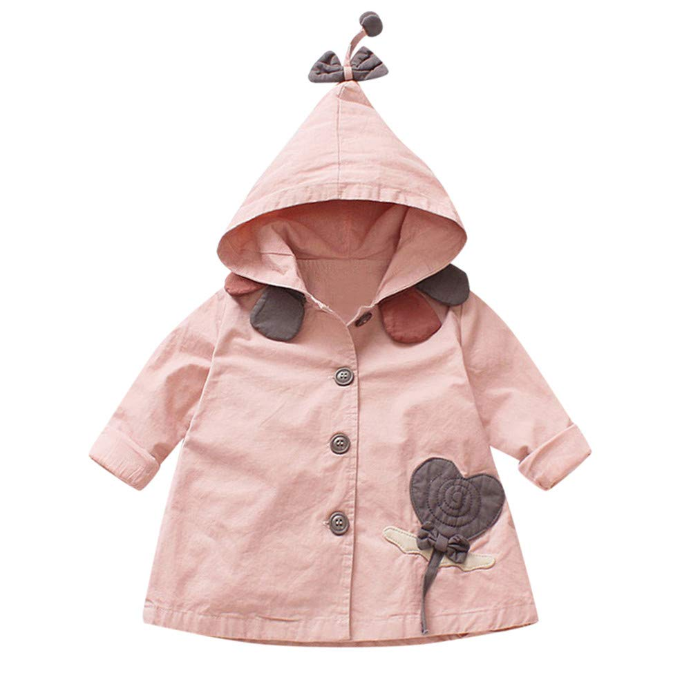 SMALLE ◕‿◕ Clearance,Toddler Baby Girls Outerwear Jacket Cartoon Windbreaker Hooeded Coat Clothes