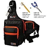Anglerbasics Shoulder Bag Fishing Tackle Bag Chest Bag Crossbody Messenger Sling Bags Outdoor Sports Hiking Travel(BLACK+Plier+Fishing Knot)