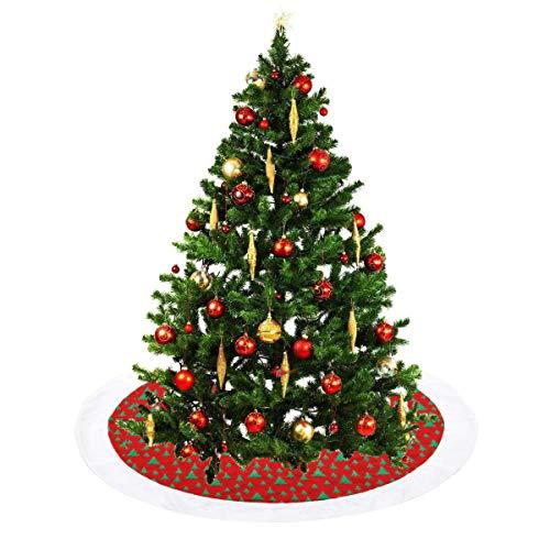 - SHENGLI Tree Skirt,48 Inch Holiday Tree Plush Skirt Ornaments,with a Green Christmas Tree Pattern