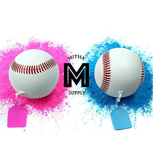 Mitha Supply Premium Gender Reveal Baseball Set | Exploding Baseballs | Baby Shower Gender Reveal Party Supplies | Team Boy Or Girl |