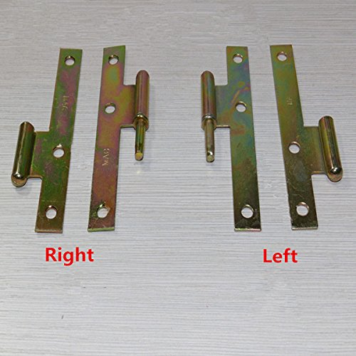 1 Pair 4 Inch H Type Color Zinc Plated Furniture Door Hinge Furniture Fitting (Random: Style)