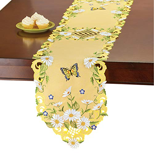 - Collections Etc Daisies and Butterfly Yellow Table Linens with Greenery Accents - Bright Seasonal Dining Room Décor, Runner