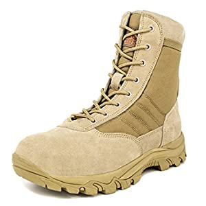Milforce Men's 8 inch Military Tactical Boots Lightweight Combat Desert Shoes with Side Zipper, Sand