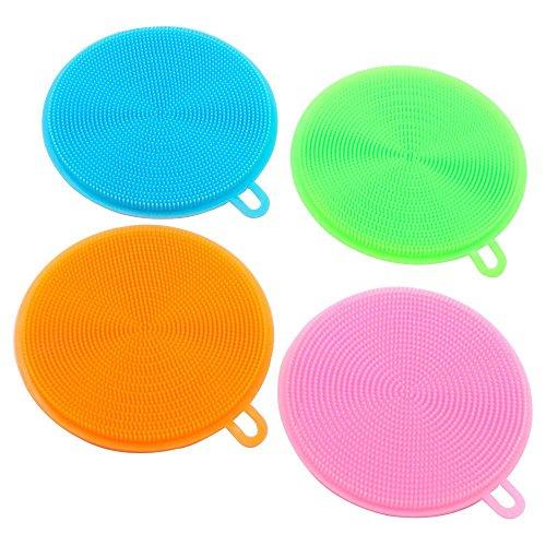 Limpieza cepillo de silicona para plato,Sebami Multifuncional antibacterial Esponjas,La silicona Plato de lavado Scrubber...