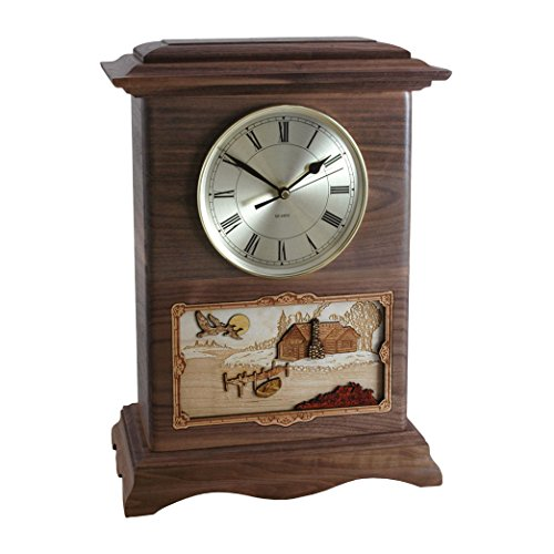 Wood Cremation Urn - Walnut Cabin Ambassador Clock