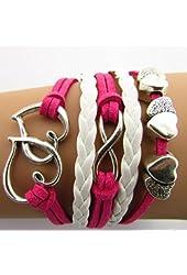 Buyinhouse Hand-woven Fashion Heart 8-mark Velvet Ladies Women Men Bracelets with Synthetic Leather Band