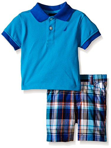 Nautica Baby Boys Solid Polo with Pattern Pull on Short Set,Ocean Tipping,24 Months -