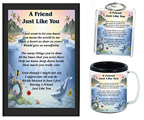 A FRIEND JUST LIKE YOU POEM | JUST IN TIME FOR CHRISTMAS GIFT | 11OZ BLACK | COFFEE CUP & PHOTO KEYCHAIN ARTWORK MUG BUNDLE