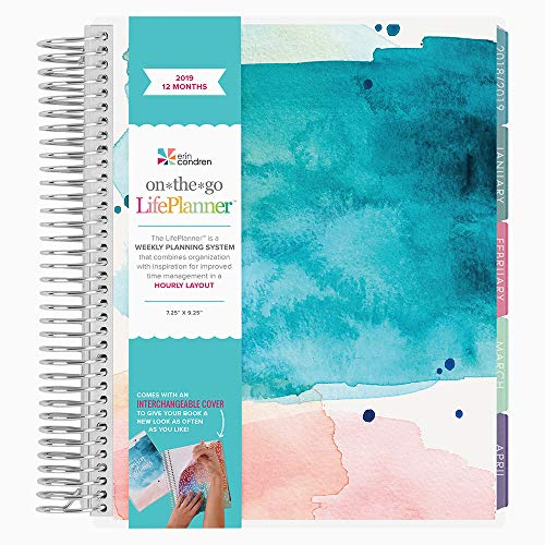 Erin Condren 2019 12 Month (Jan 2019 - Dec 2019) LifePlanner, Watercolor Splash Teal - Hourly (Colorful Layout)