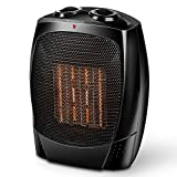 Ceramic Space Heater - Portable Electric Heater with Adjustable Thermostat, Tip-Over & Overheat Protection for Home & Office, 1500W / 750W Power Setting, Small Size Quiet Room Heater with Carry Handle
